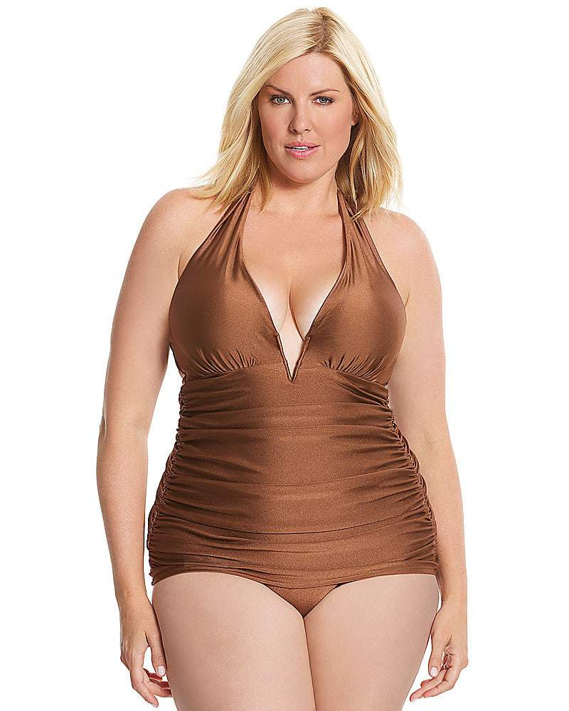 Lane Bryant and here is the Shimmery V-Neck Maillot