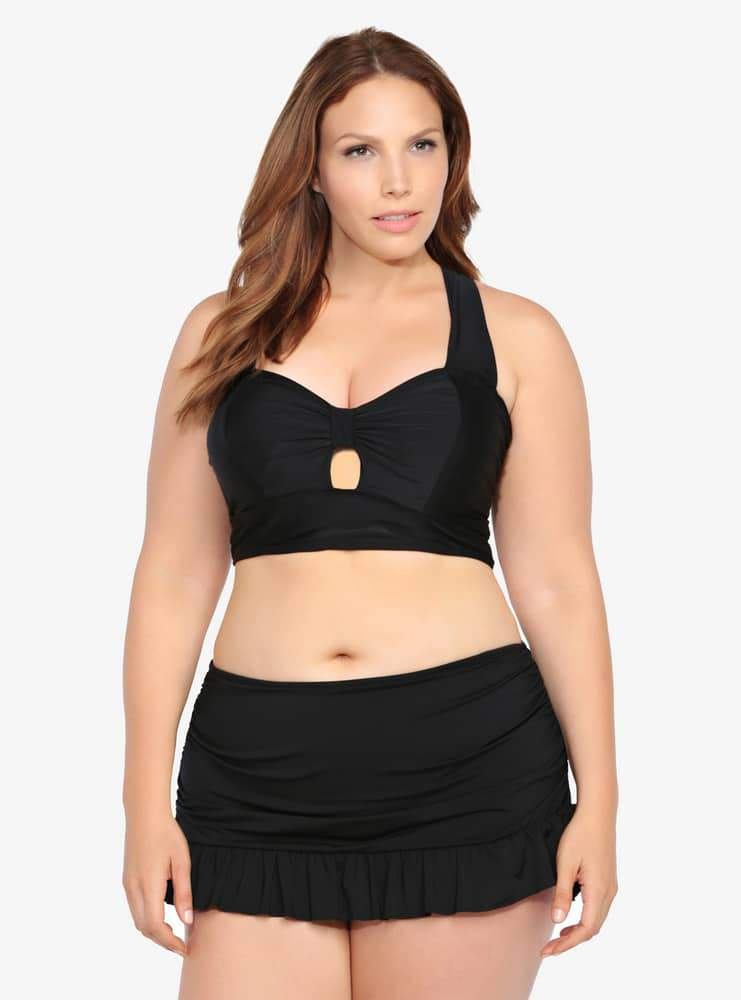 Torrid shown here is the Peek-A-Boo Bow Swim Set