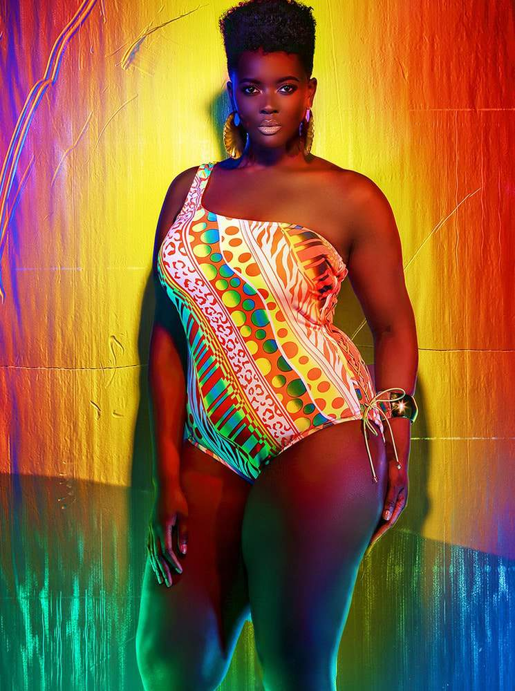 Monif C w/ Costa Rica One Shoulder Lace Up Plus Size Swimsuit