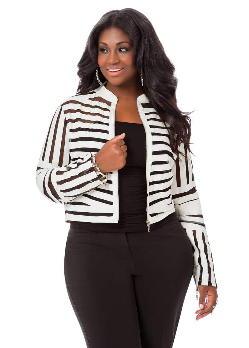 Ashley Stewart Mesh Striped Jacket