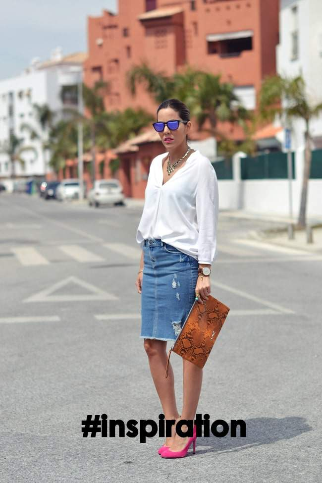 conzapatosnuevos denim skirt inspiration