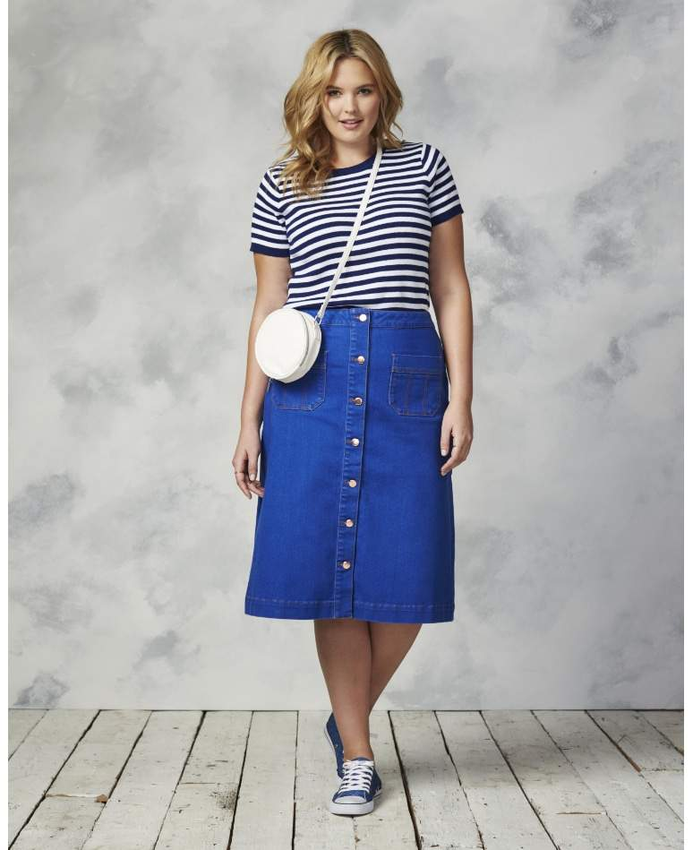 Plus size denim skirt from Simply be