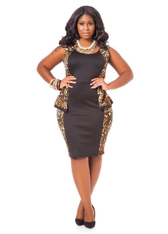 Leopard Colorblock Peplum dress by Ashley Stewart
