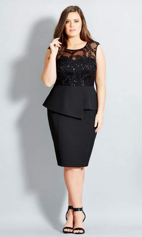 City Chic Plus Size Peplum and Sequins Dress