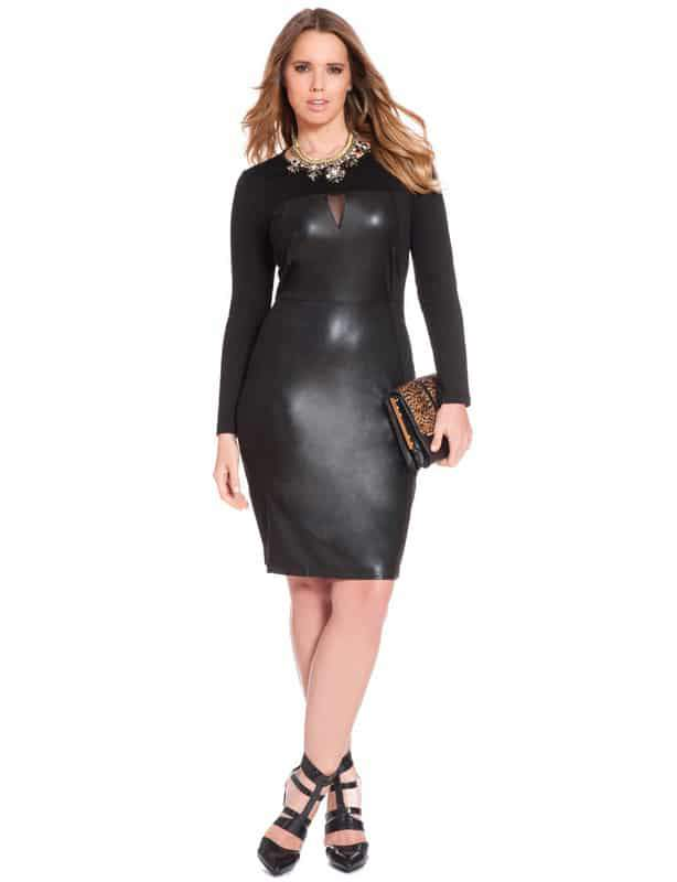 Plus Size Faux Leather and Mesh Dress by Eloquii