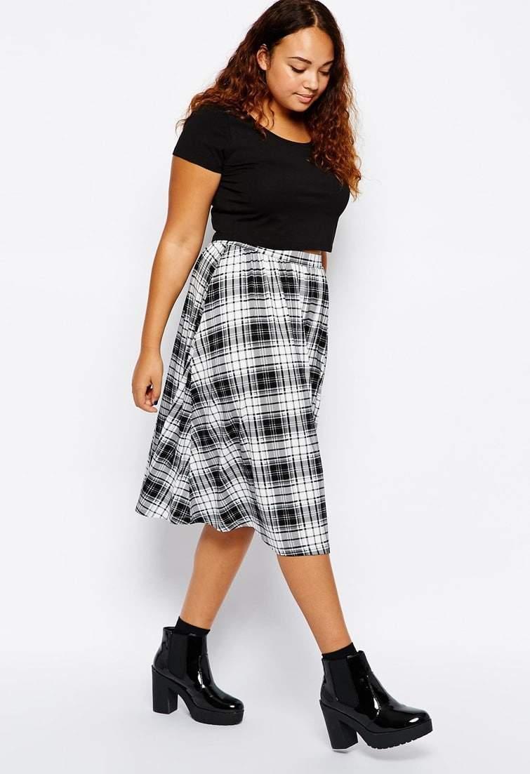 Asos Curve Black and White Tartan Check Skirt