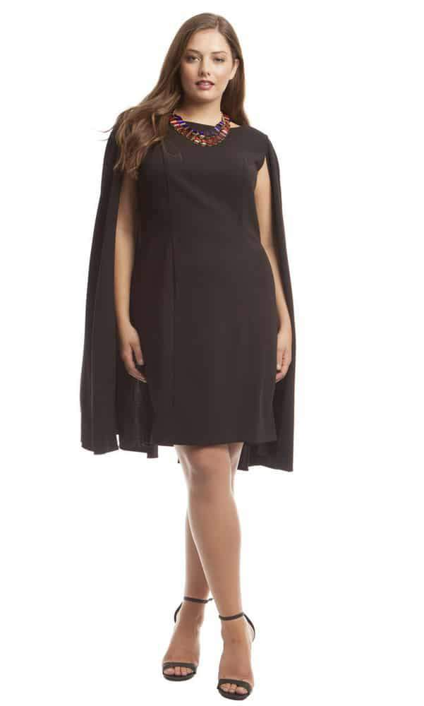 Adrianna Papell Plus Size Structured Cape Dress