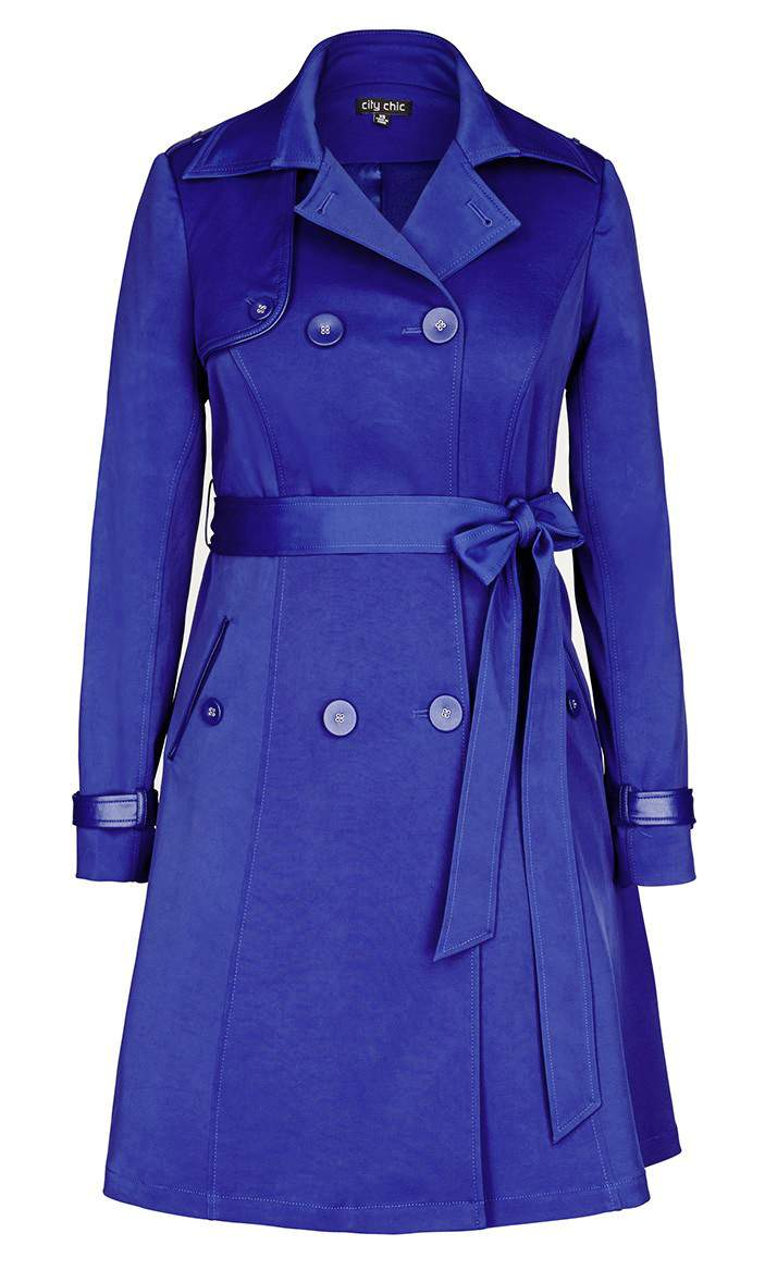 City Chic Plus size cobalt Trench