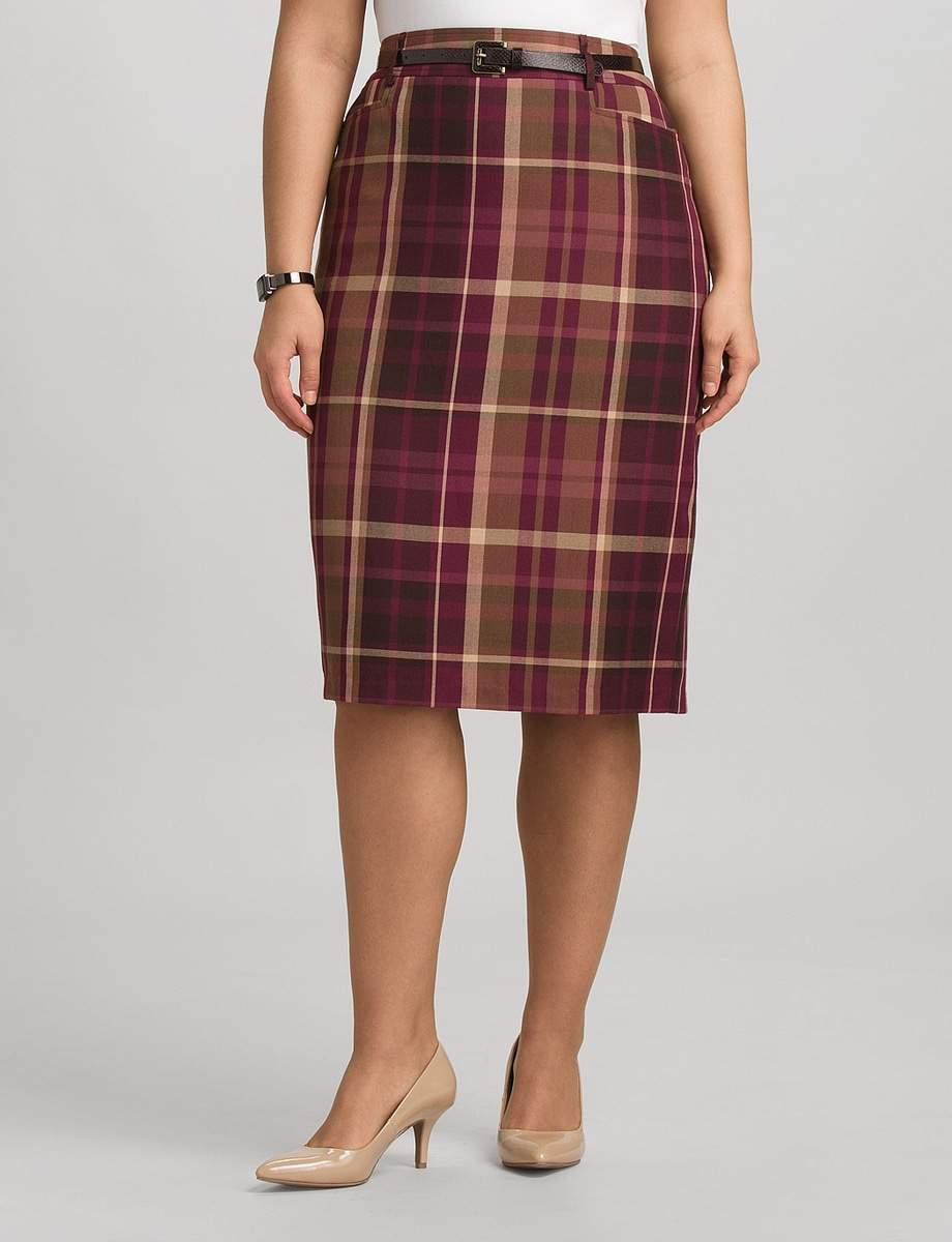 DressBarn Plus Size Plaid Pencil Skirt