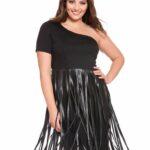 Eloquii Studio Faux Leather Fringe Dress