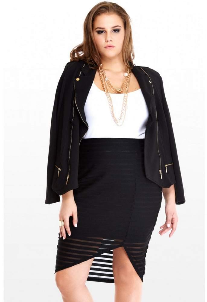Fashion to Figure Mesh Striped Plus Size Skirt