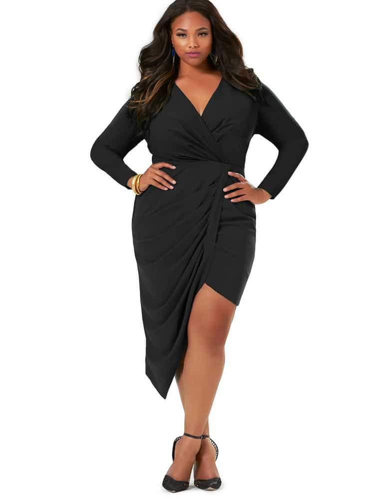 Jenna Asymmetrical Draped Dress -Black