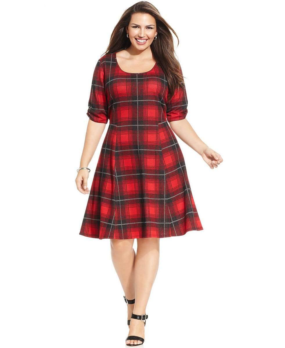 Macy's Plaid A-Line Dress