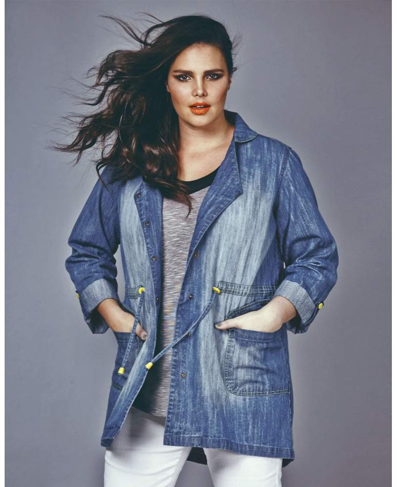Plus Size Denim Parka Jacket at SimplyBe
