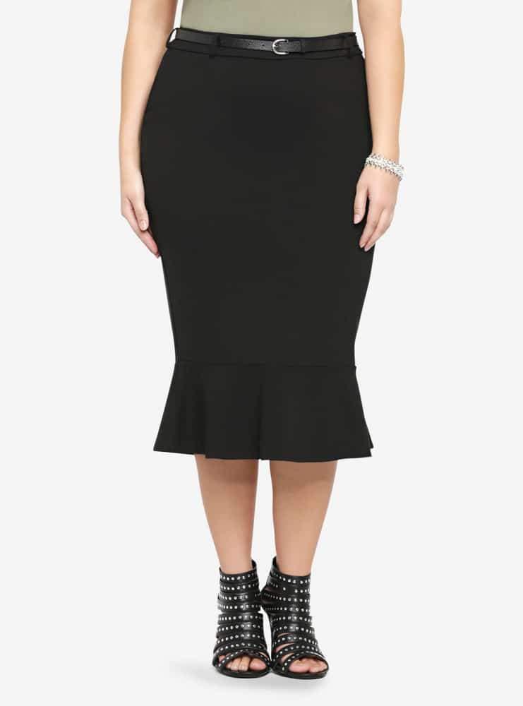 Torrid Belted Flounce Ponte Plus Size Skirt