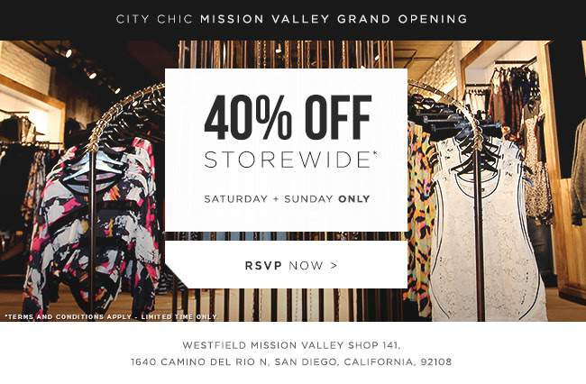 THIS WEEKEND: Westfield Mission Valley City Chic Opens THIS weekend