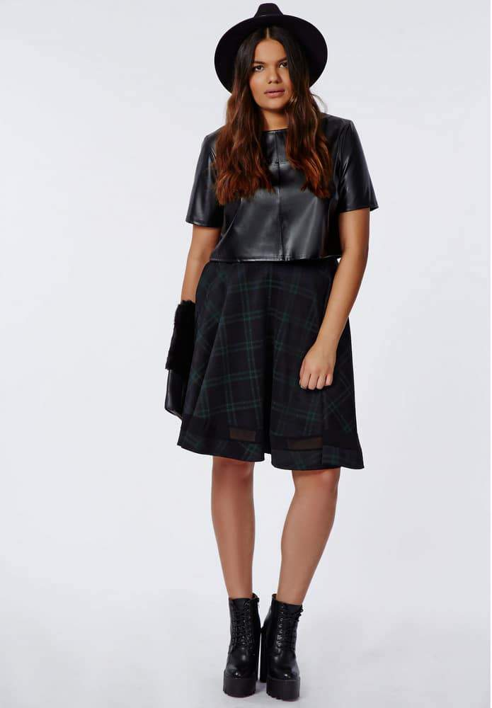 MISSGUIDED PLUS SIZES CROPPED PU BOX TOP and PLAID SKIRT WITH MESH HEM