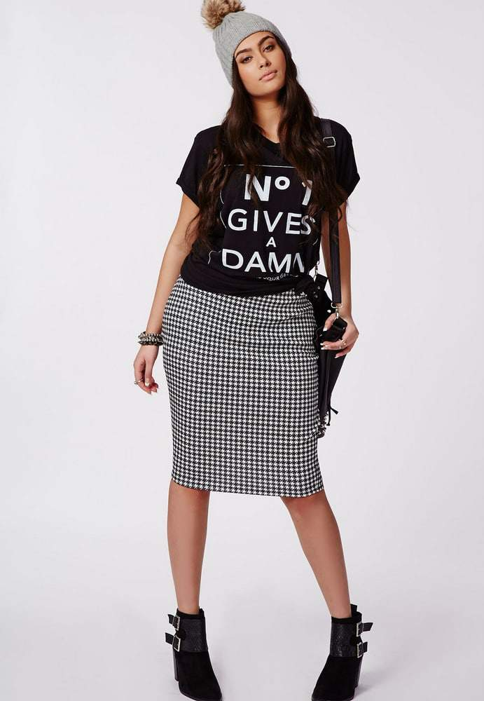 Missguided PLUS SIZES DOGTOOTH PRINT SKIRT