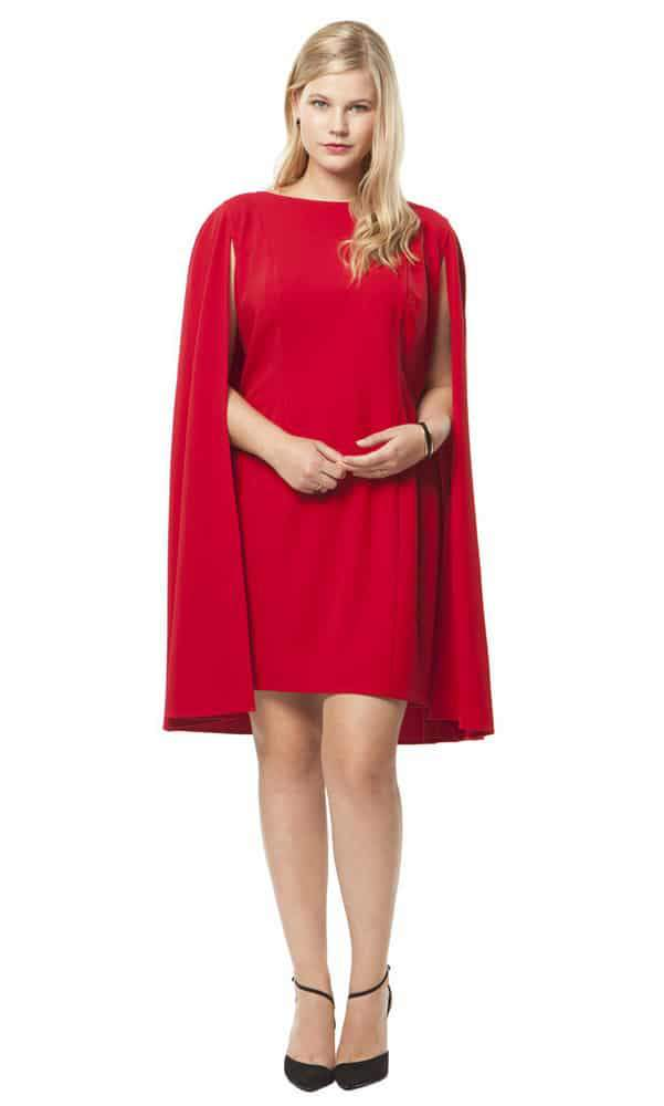 764a02dc072 Structured Cape Dress in Red by Adrianna Papell at HeyGorgeous
