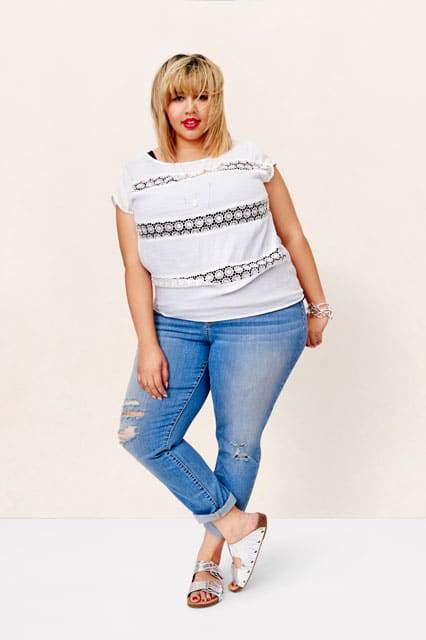 GabiFresh wears AVA & VIV distressed jeans and crocheted top