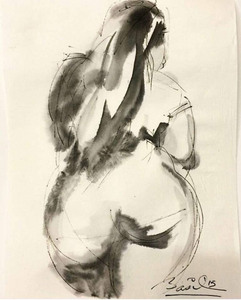 Plus SIze Model Nedra Sketched by Basil Watson