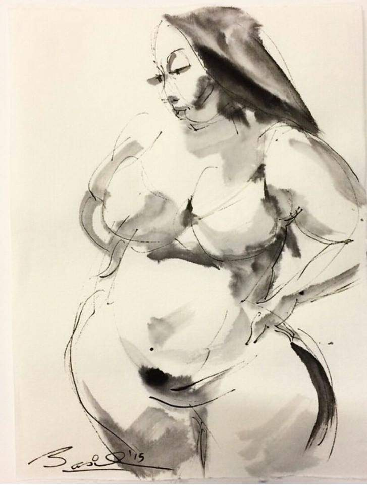 Plus SIze Model Nedra Sketched by Basil Watson