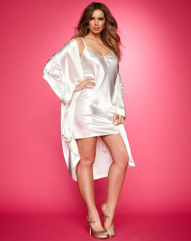 Morgan Taylor Plus Size Solid Charmeuse Chemise and Robe
