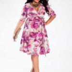 Dominique Plus Size Dress in Orchid Fantasy on TheCurvyFashionista.com