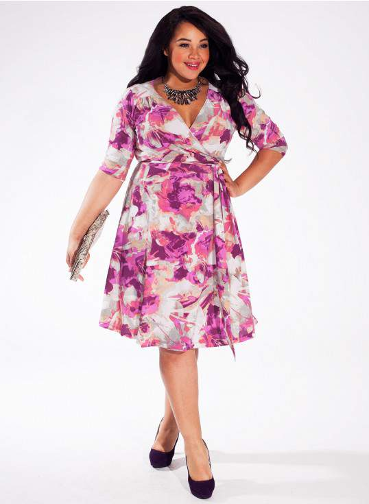 Dominique Plus Size Dress in Orchid Fantasy on TheCurvyFashionista.com