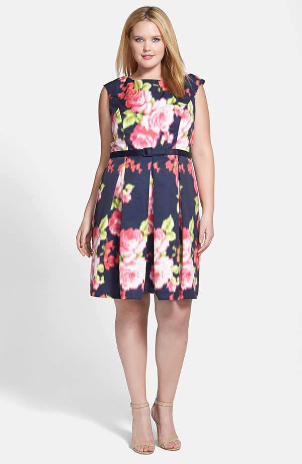 Eliza J Floral Print Cap Sleeve Fit & Flare Dress on TheCurvyFashionista.com