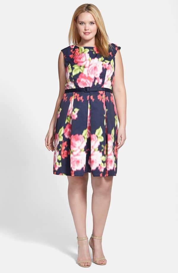 Eliza J Floral Print Cap Sleeve Fit & Flare Dress on TheCurvyFashionista.com