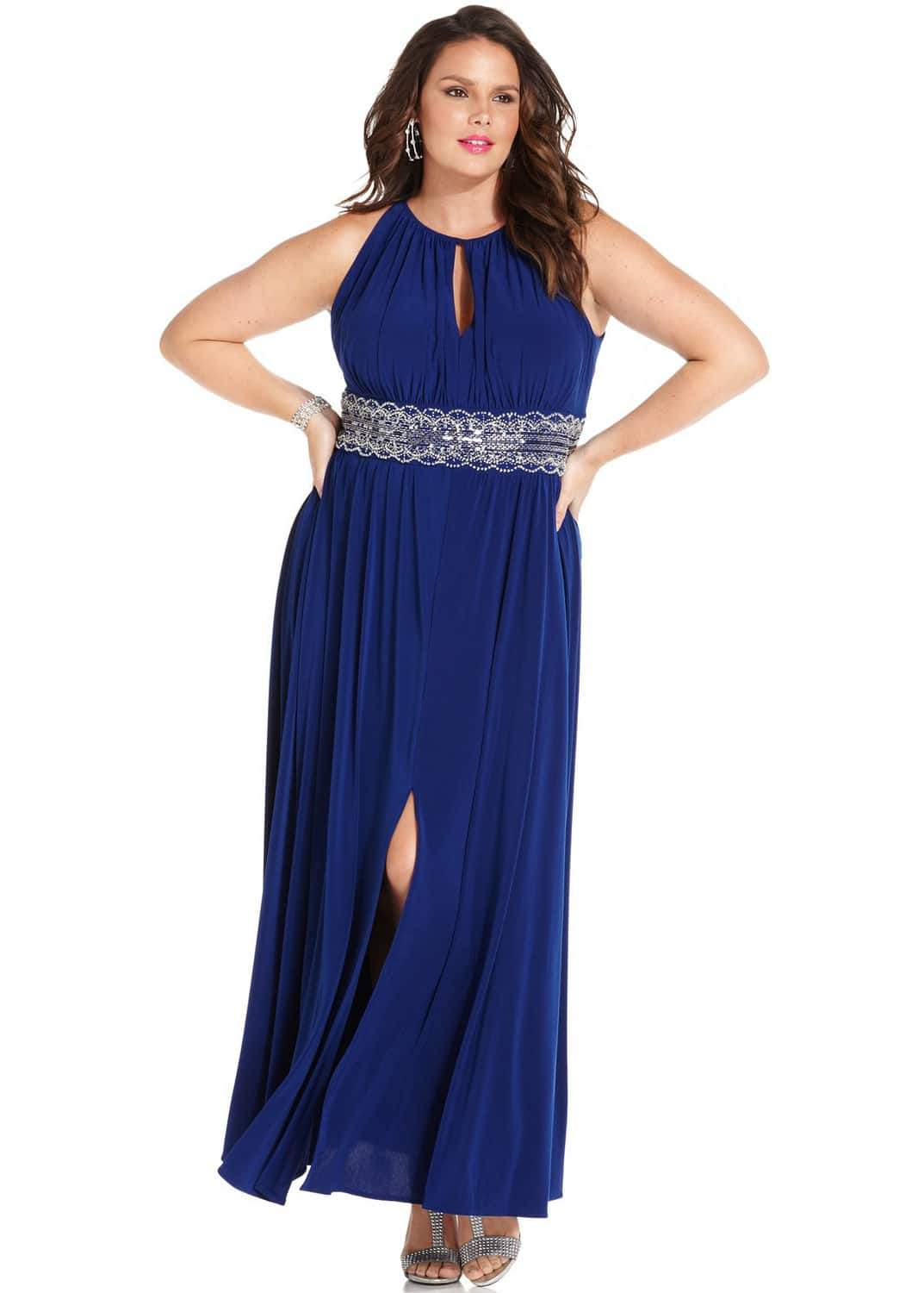 R&M Richards Plus Size Sleeveless Beaded Plus Size Prom Gown