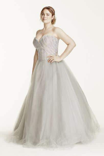 Rhinestone Encrusted Bodice Tulle Plus Size Ball Gown on TheCurvyFashionista.com