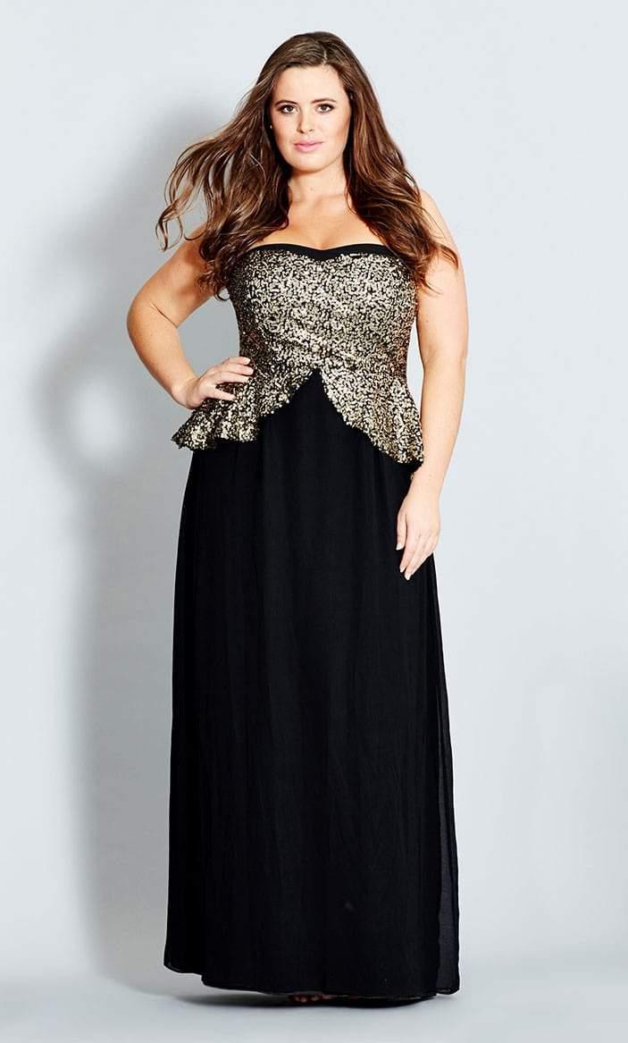Sequin Peplum Maxi Dress