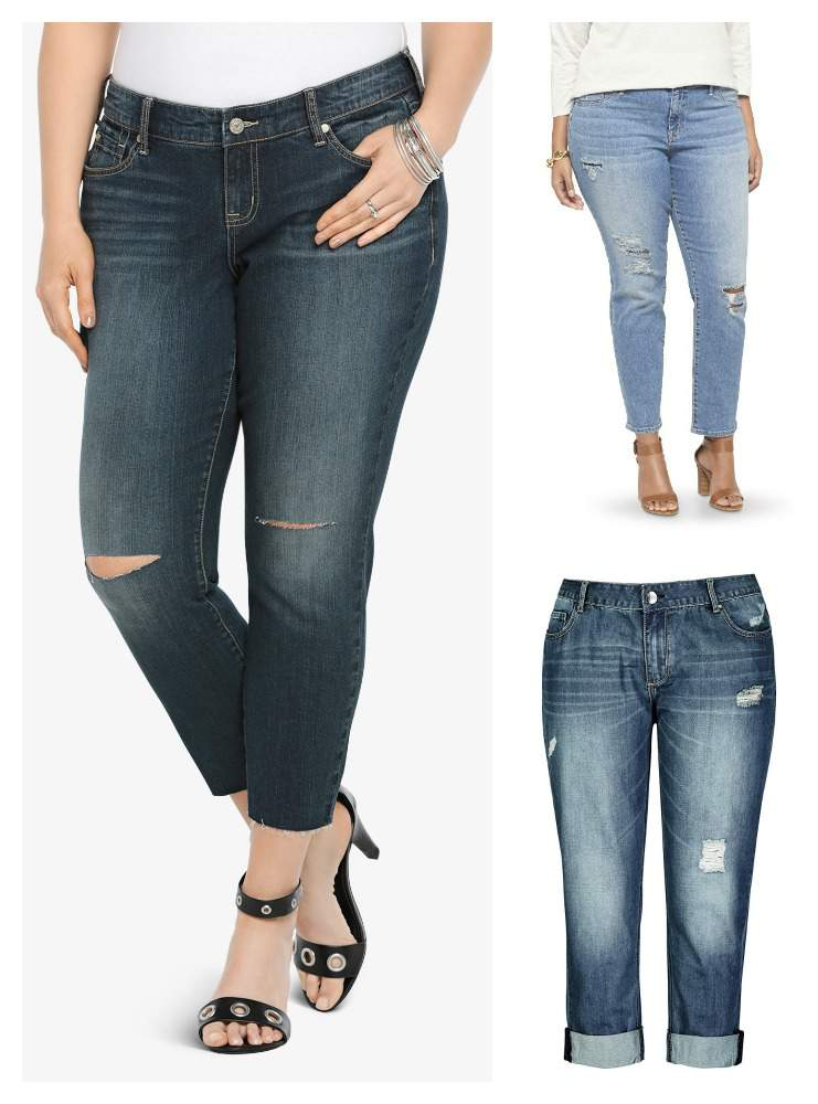 Spirng 2015 Plus Size Distressed Denim Trend on TheCurvyFashionista.com
