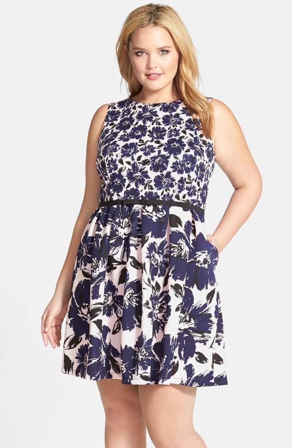 Taylor Dresses Twin Print Fit & Flare Dress on TheCurvyFashionista.com