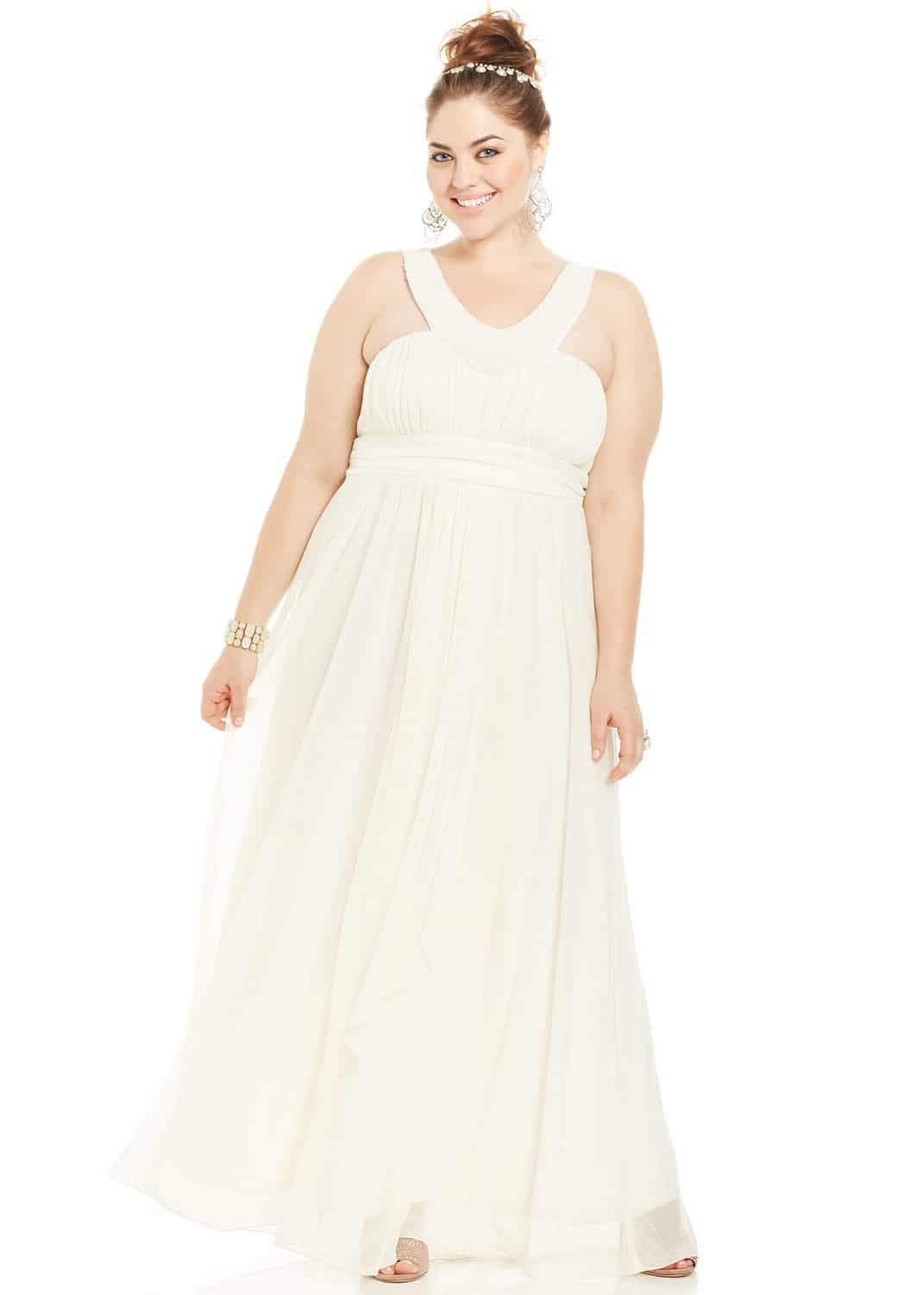 Trixxi Plus Size Sleeveless Beaded Plus Size Prom Gown