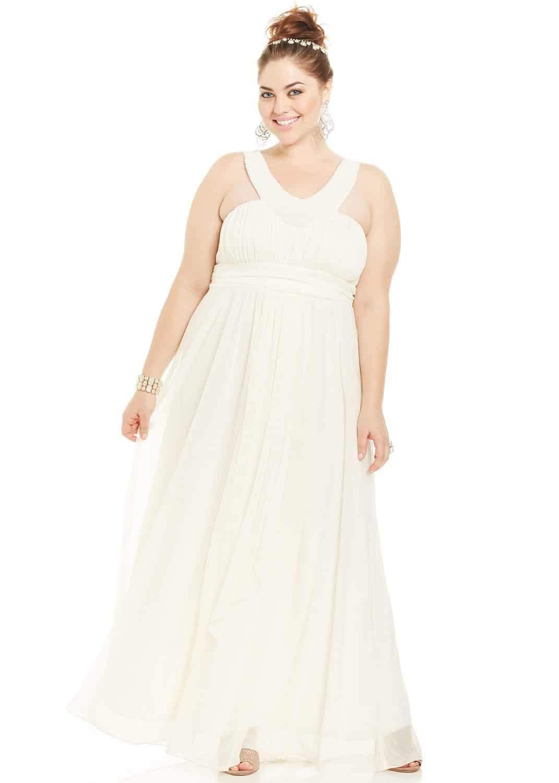Trixxi Plus Size Sleeveless Beaded Plus Size Prom Gown