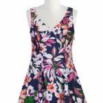 Tropical floral print skater dress on TheCurvyFashionista.com