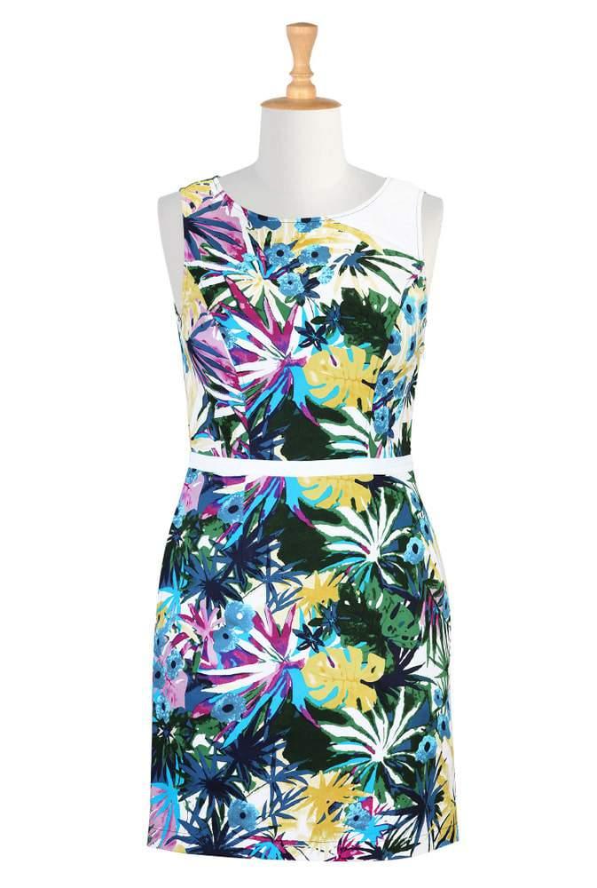 Tropical print stretch sateen sheath dress on TheCurvyFashionista.com