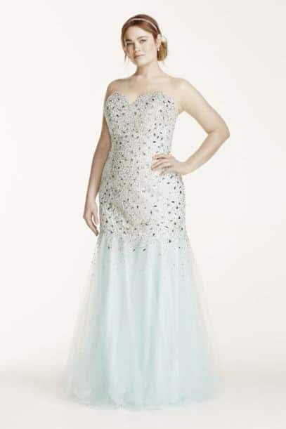 Tulle Fit and Flare Plus Size Prom Gown with Sweetheart Neckline on TheCurvyFashionista.com