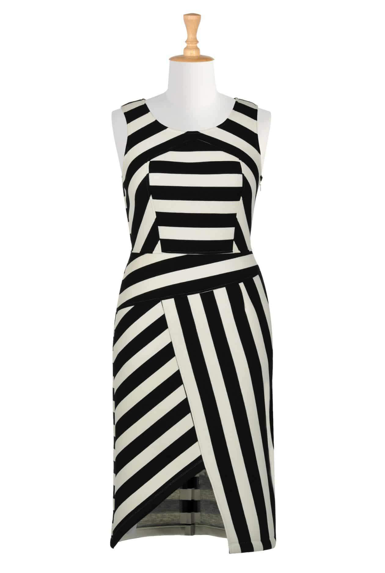 Asymmetrical stripe bonded knit dress via TheCurvyFashionista.com