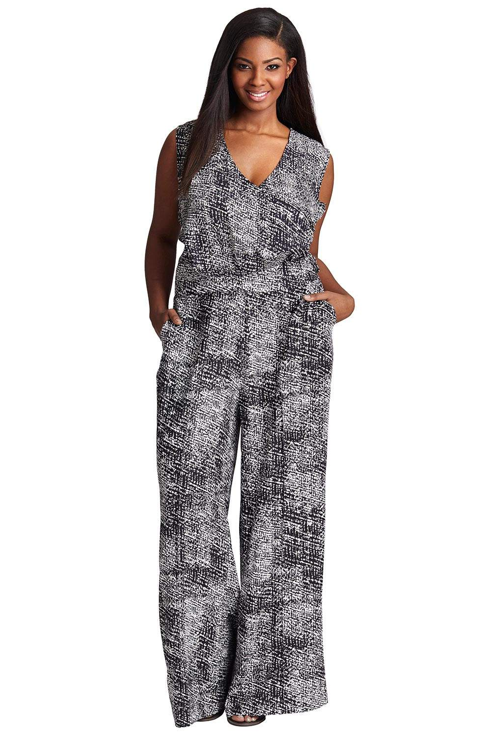 MYNT 1792 Plus Size Sheer Bodice Jumpsuit via TheCurvyFashionista.com