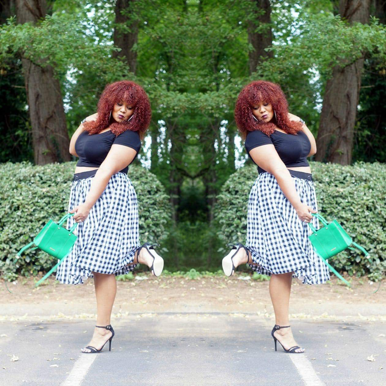 Plus SIze Blogger Marie Denee-  Gingham and a Bit Playful In Eloquii