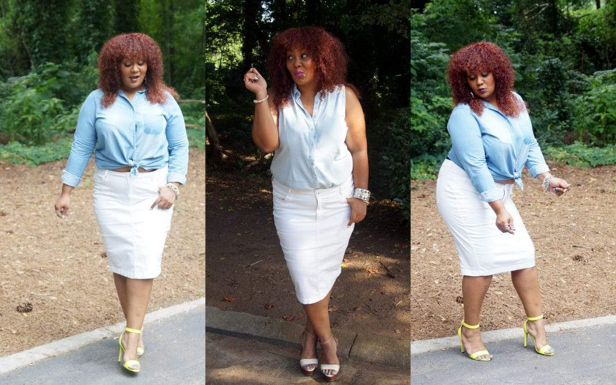 Denim on Denim on a Plus Size Denim Skirt on The Curvy Fashionista- Marie Denee