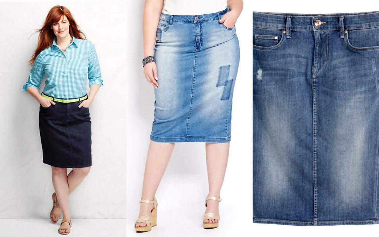 Six Plus Size Denim Skirt Options on The Curvy Fashionista