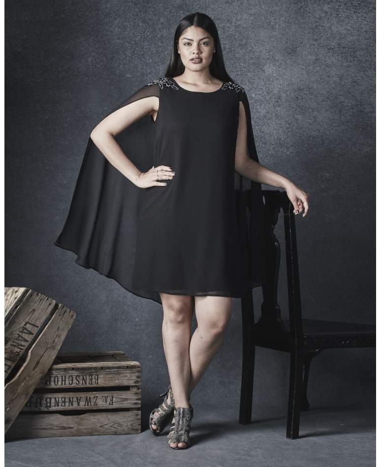 EMBELLISHED Plus Size SHIFT DRESS WITH CAPE
