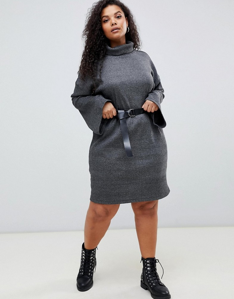 Fall Plus Size Sweater Dresses: ASOS DESIGN Curve high neck rib sweat dress with belt