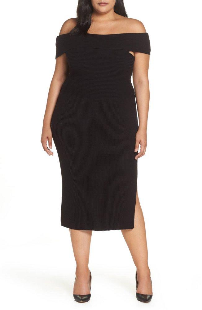 Fall Plus Size Sweater Dresses: ELIZA J Off the Shoulder Midi Sweater Dress