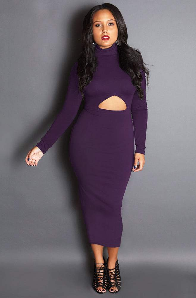 GRISEL THE HEIRESS CUT-OUT MID CALF DRESS
